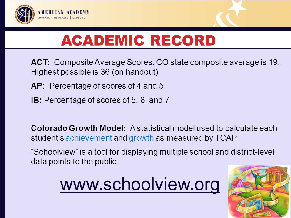 ACADEMIC RECORD ACT: Composite Average Scores. CO state composite average is 19. Highest possible is 36 (on handout) AP: Percentage of scores of 4 and
