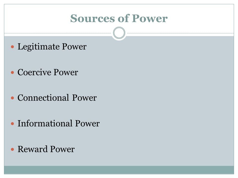 Sources of Power Legitimate Power Coercive Power Connectional Power Informational Power Reward Power