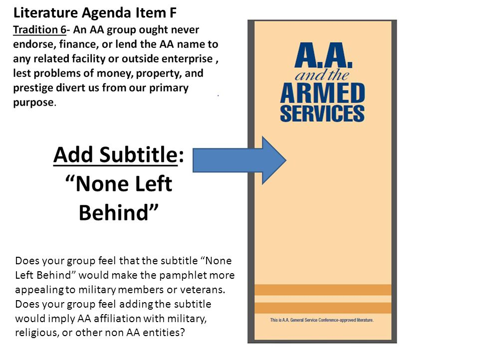 Literature Agenda Item F Does your group feel that the subtitle None Left Behind would make the pamphlet more appealing to military members or veterans.