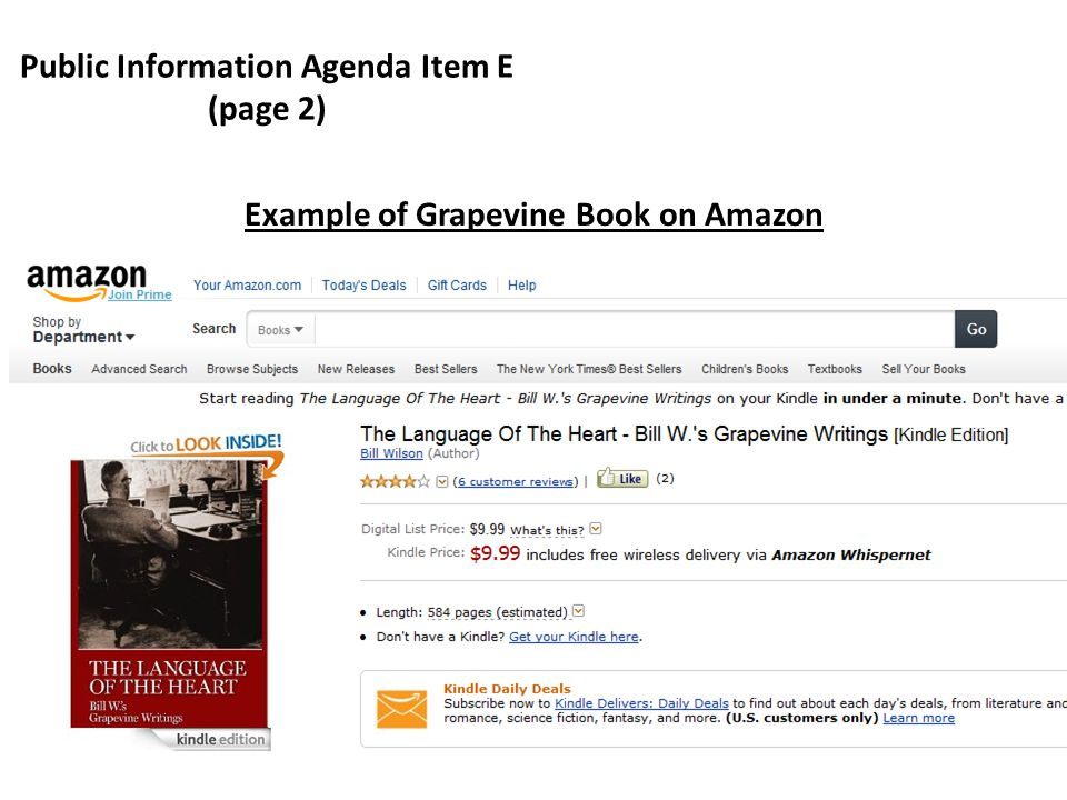 Public Information Agenda Item E (page 2) Example of Grapevine Book on Amazon