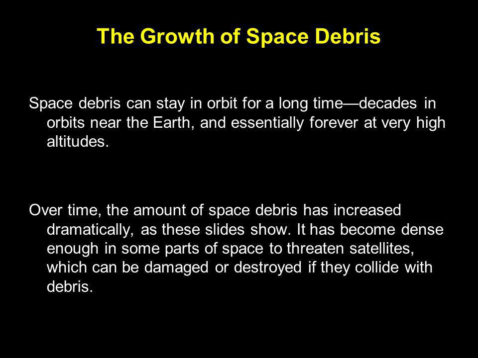 The Growth of Space Debris Space debris can stay in orbit for a long time—decades in orbits near the Earth, and essentially forever at very high altitudes.