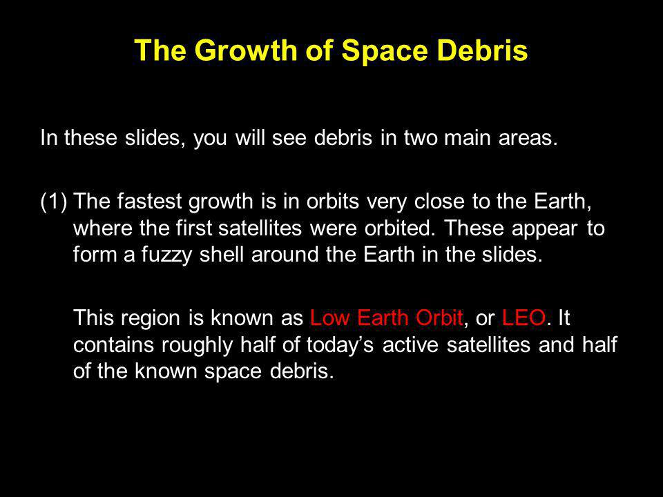 The Growth of Space Debris (2) In the picture for 1970, debris in the Geo-stationary ring (GEO) has become obvious.