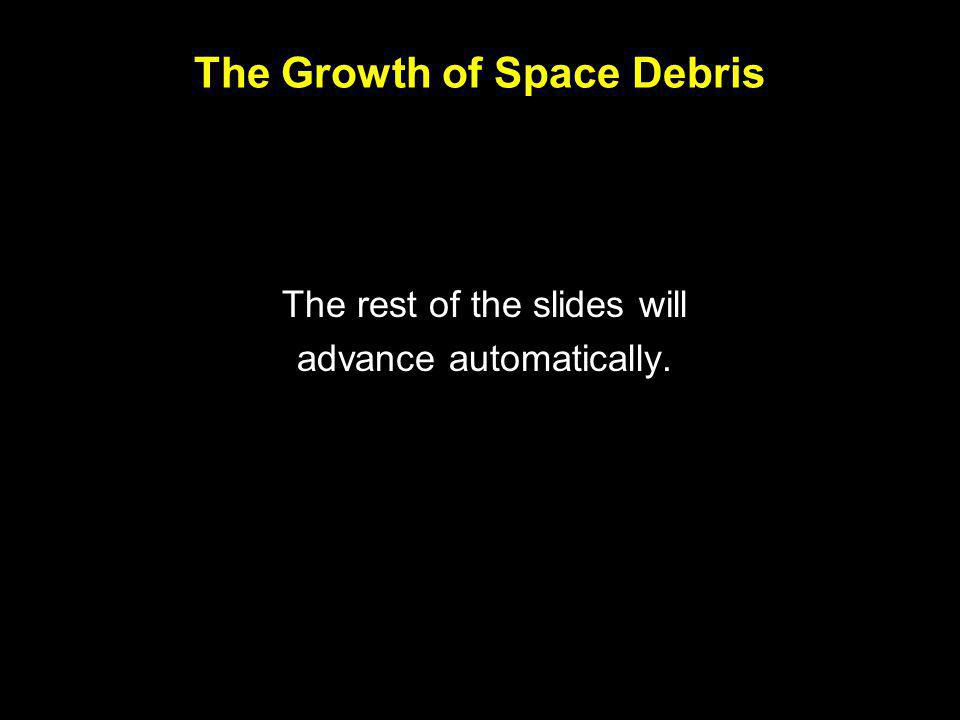 The Growth of Space Debris The rest of the slides will advance automatically.