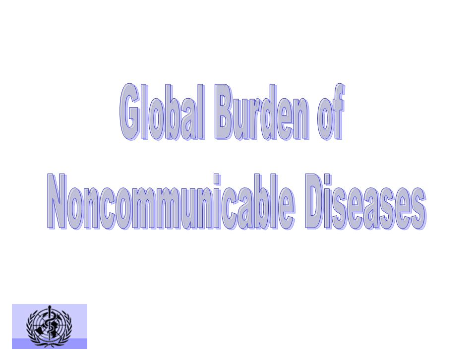 Injuries (9.1%) Noncommunicable conditions (59.0%) Communicable diseases, maternal and perinatal conditions, and nutritional deficiencies (31.9%) Total deaths: 55,694,000 Source: WHO, World Health Report 2001 Death by Broad Cause Group (2000)
