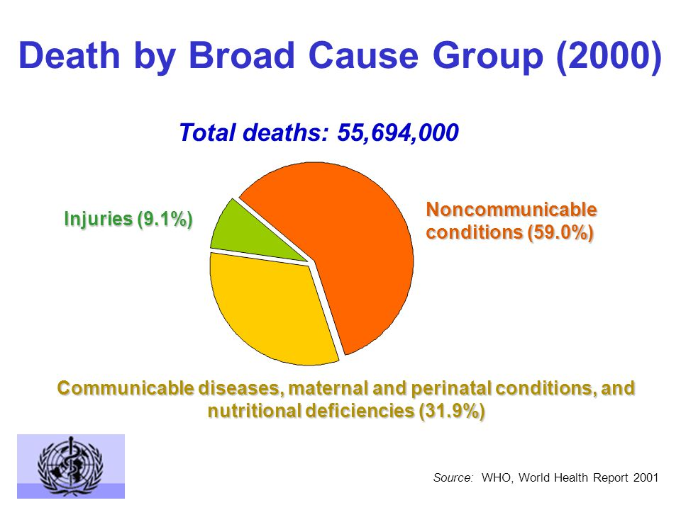 Deaths by Broad Cause Group and WHO Region (2000) Injuries Noncommunicable conditions Communicable diseases, maternal and perinatal conditions, and nutritional deficiencies AFR EMREURSEARWPR AMR 25 50 75 % Source: WHO, World Health Report 2001