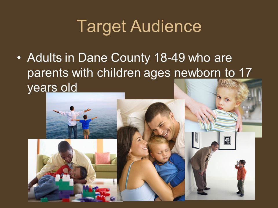 Target Audience Adults in Dane County 18-49 who are parents with children ages newborn to 17 years old