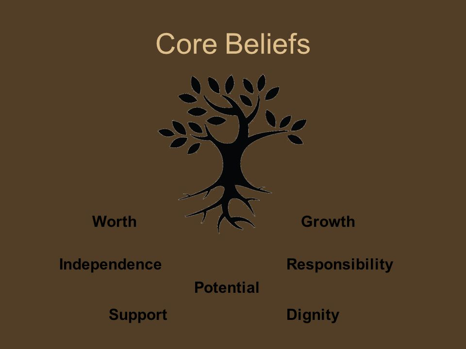 Core Beliefs WorthGrowth Dignity Potential Support IndependenceResponsibility