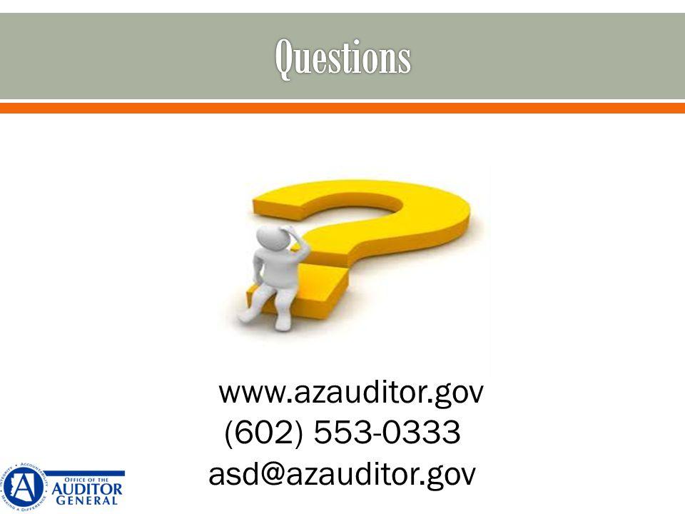 www.azauditor.gov (602) 553-0333 asd@azauditor.gov