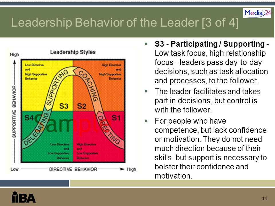 Leadership Behavior of the Leader [3 of 4]  S3 - Participating / Supporting - Low task focus, high relationship focus - leaders pass day-to-day decis