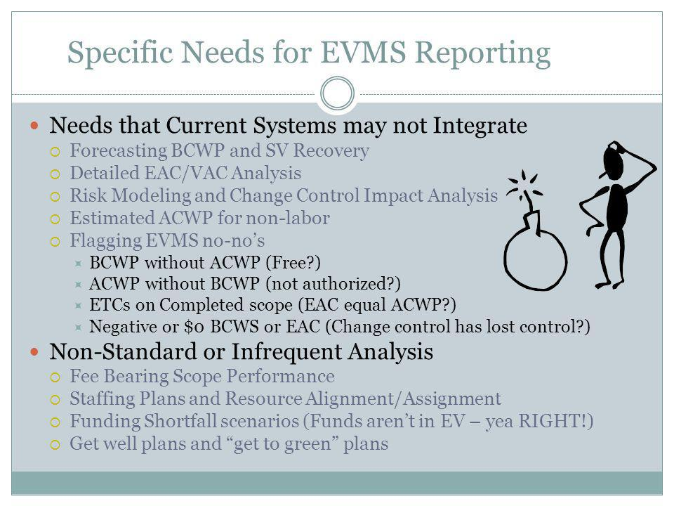 Specific Needs for EVMS Reporting Needs that Current Systems may not Integrate  Forecasting BCWP and SV Recovery  Detailed EAC/VAC Analysis  Risk Modeling and Change Control Impact Analysis  Estimated ACWP for non-labor  Flagging EVMS no-no's  BCWP without ACWP (Free?)  ACWP without BCWP (not authorized?)  ETCs on Completed scope (EAC equal ACWP?)  Negative or $0 BCWS or EAC (Change control has lost control?) Non-Standard or Infrequent Analysis  Fee Bearing Scope Performance  Staffing Plans and Resource Alignment/Assignment  Funding Shortfall scenarios (Funds aren't in EV – yea RIGHT!)  Get well plans and get to green plans
