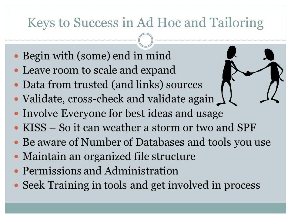 Keys to Success in Ad Hoc and Tailoring Begin with (some) end in mind Leave room to scale and expand Data from trusted (and links) sources Validate, cross-check and validate again Involve Everyone for best ideas and usage KISS – So it can weather a storm or two and SPF Be aware of Number of Databases and tools you use Maintain an organized file structure Permissions and Administration Seek Training in tools and get involved in process