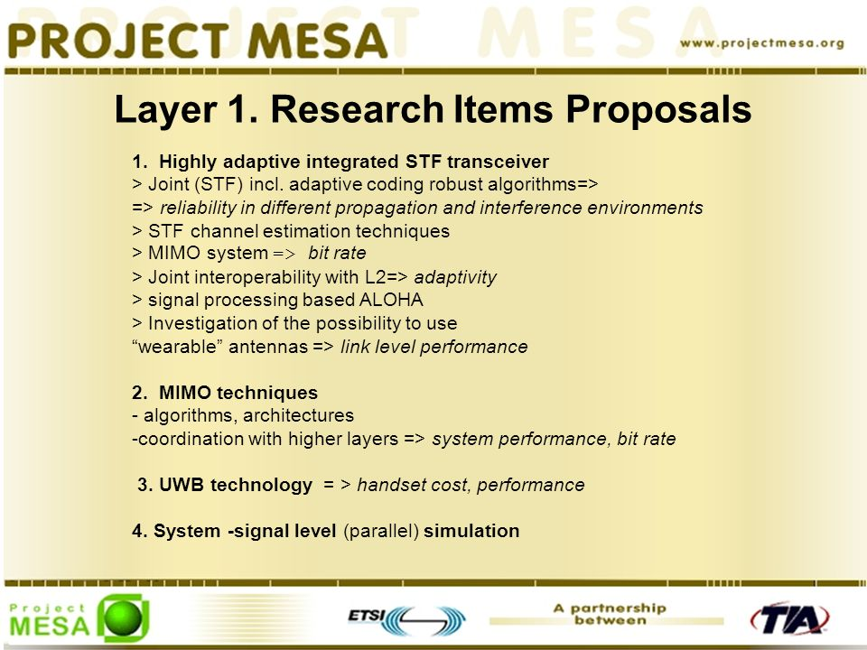 Layer 1. Research Items Proposals 1.