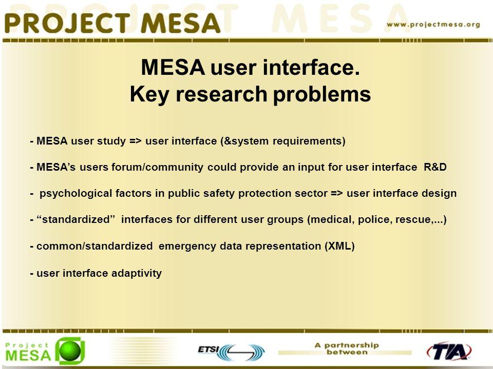 MESA user interface.