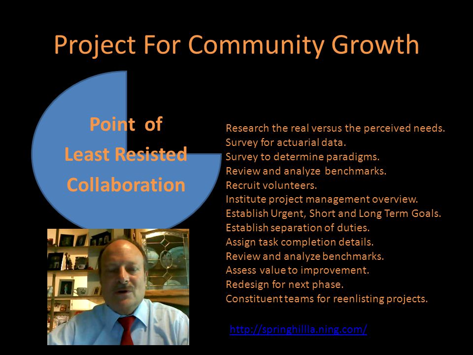 Project For Community Growth Point of Least Resisted Collaboration Research the real versus the perceived needs.