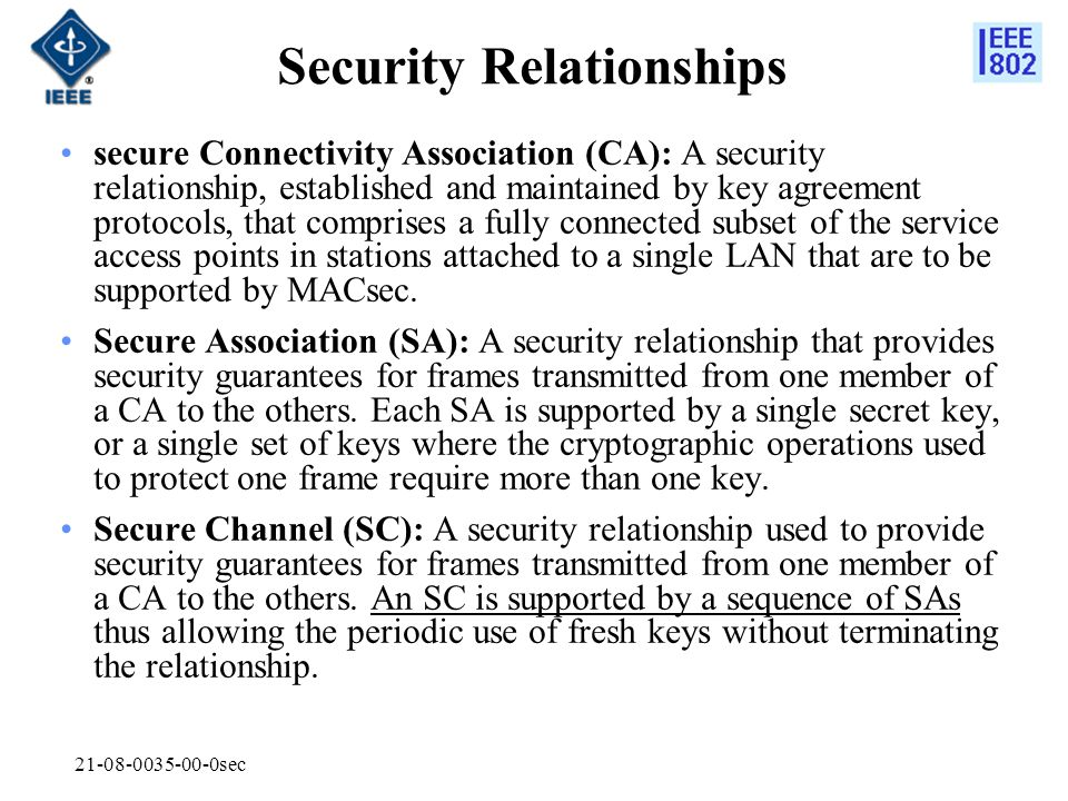 21-08-0035-00-0sec Security Relationships secure Connectivity Association (CA): A security relationship, established and maintained by key agreement p