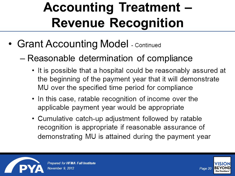 Page 20 November 9, 2012 Prepared for HFMA Fall Institute Accounting Treatment – Revenue Recognition Grant Accounting Model - Continued –Reasonable determination of compliance It is possible that a hospital could be reasonably assured at the beginning of the payment year that it will demonstrate MU over the specified time period for compliance In this case, ratable recognition of income over the applicable payment year would be appropriate Cumulative catch-up adjustment followed by ratable recognition is appropriate if reasonable assurance of demonstrating MU is attained during the payment year