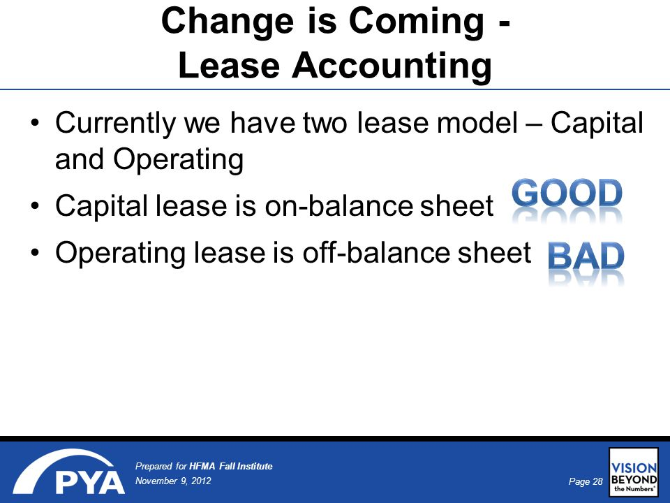 Page 28 November 9, 2012 Prepared for HFMA Fall Institute Currently we have two lease model – Capital and Operating Capital lease is on-balance sheet Operating lease is off-balance sheet Change is Coming - Lease Accounting