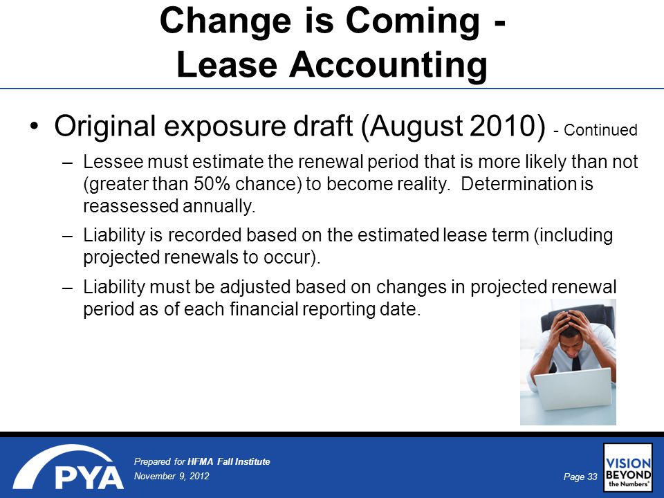 Page 33 November 9, 2012 Prepared for HFMA Fall Institute Original exposure draft (August 2010) - Continued –Lessee must estimate the renewal period that is more likely than not (greater than 50% chance) to become reality.