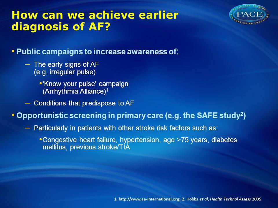 How can we achieve earlier diagnosis of AF.