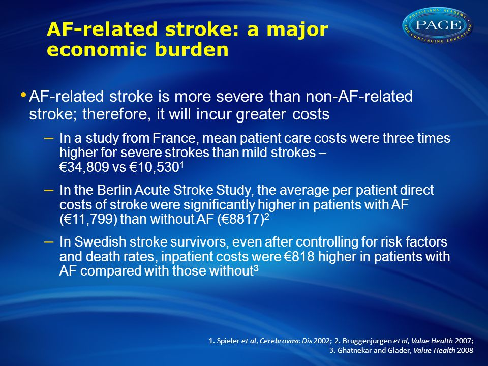 AF-related stroke: a major economic burden AF-related stroke is more severe than non-AF-related stroke; therefore, it will incur greater costs – In a