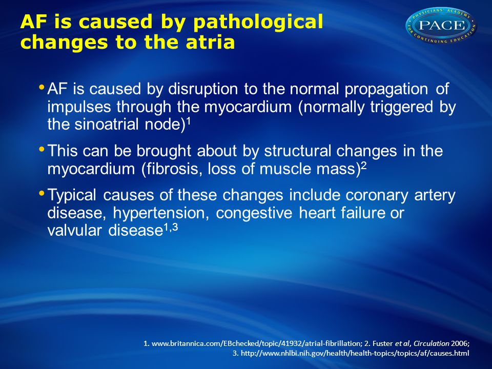 AF is caused by pathological changes to the atria AF is caused by disruption to the normal propagation of impulses through the myocardium (normally tr