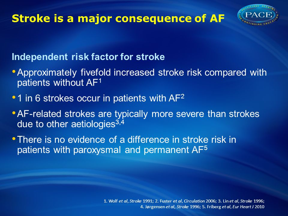 Stroke is a major consequence of AF Independent risk factor for stroke Approximately fivefold increased stroke risk compared with patients without AF