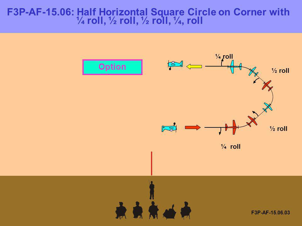 F3P-AF-15.06: Half Horizontal Square Circle on Corner with ¼ roll, ½ roll, ½ roll, ¼, roll F3P-AF-15.06.03 ¼ roll ½ roll Option
