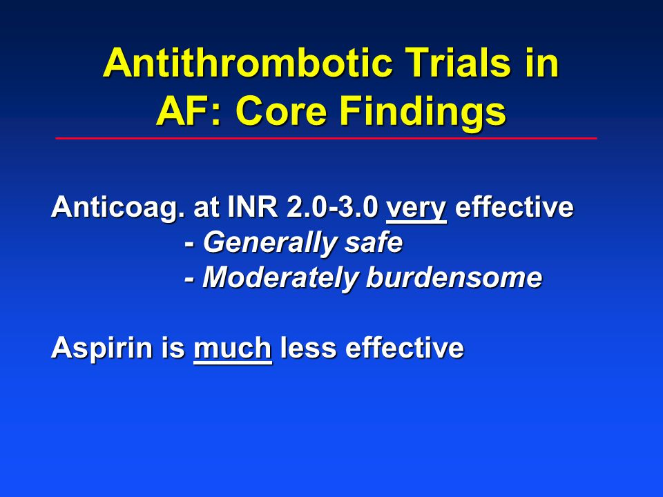 Antithrombotic Trials in AF: Core Findings Anticoag.