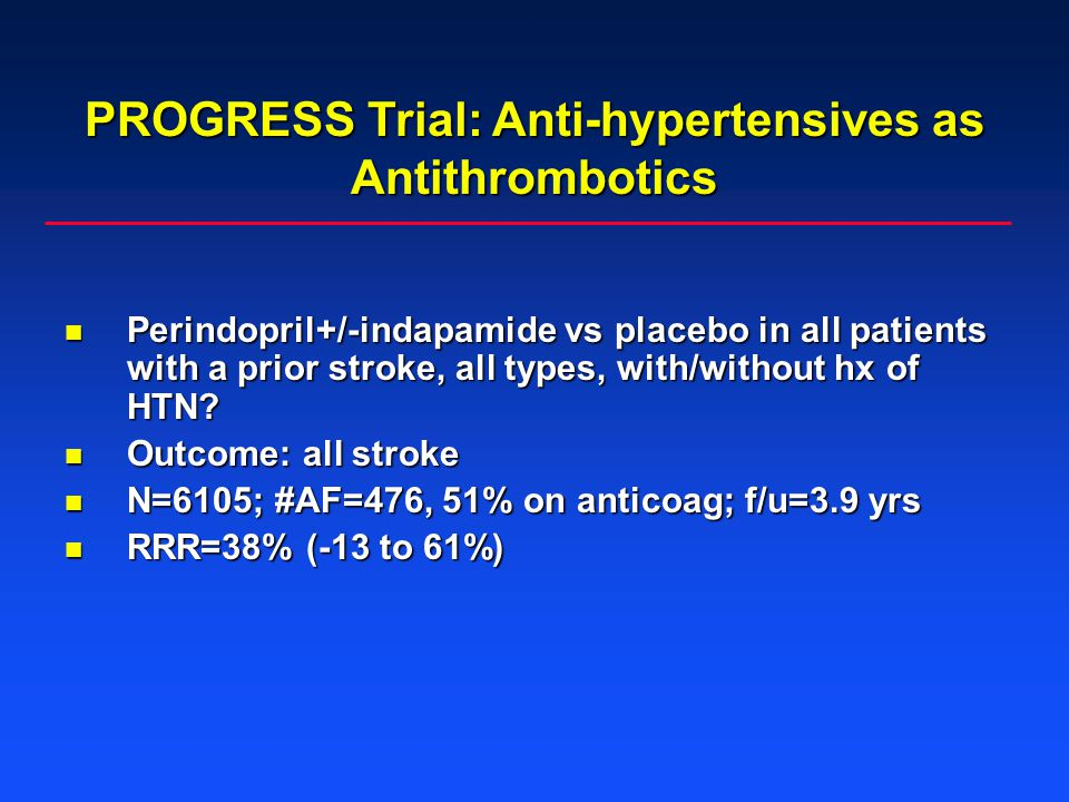 PROGRESS Trial: Anti-hypertensives as Antithrombotics Perindopril+/-indapamide vs placebo in all patients with a prior stroke, all types, with/without