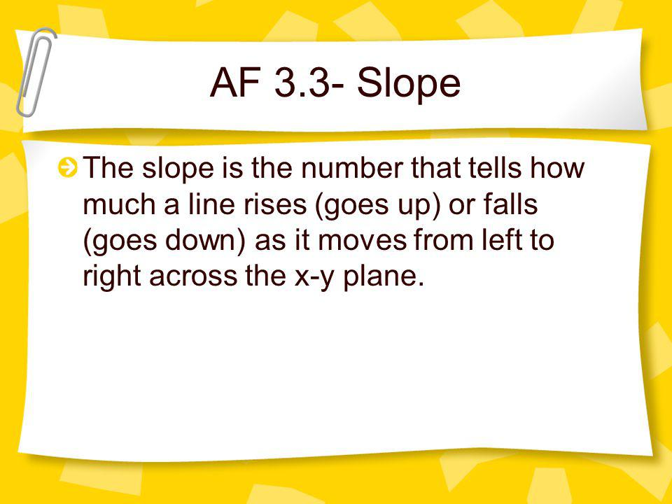 AF 3.3- Slope The slope is the number that tells how much a line rises (goes up) or falls (goes down) as it moves from left to right across the x-y pl