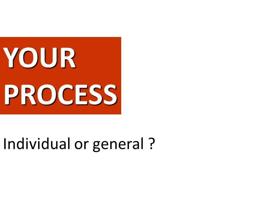 YOUR PROCESS Give a complete form to the ideaIndividual or general
