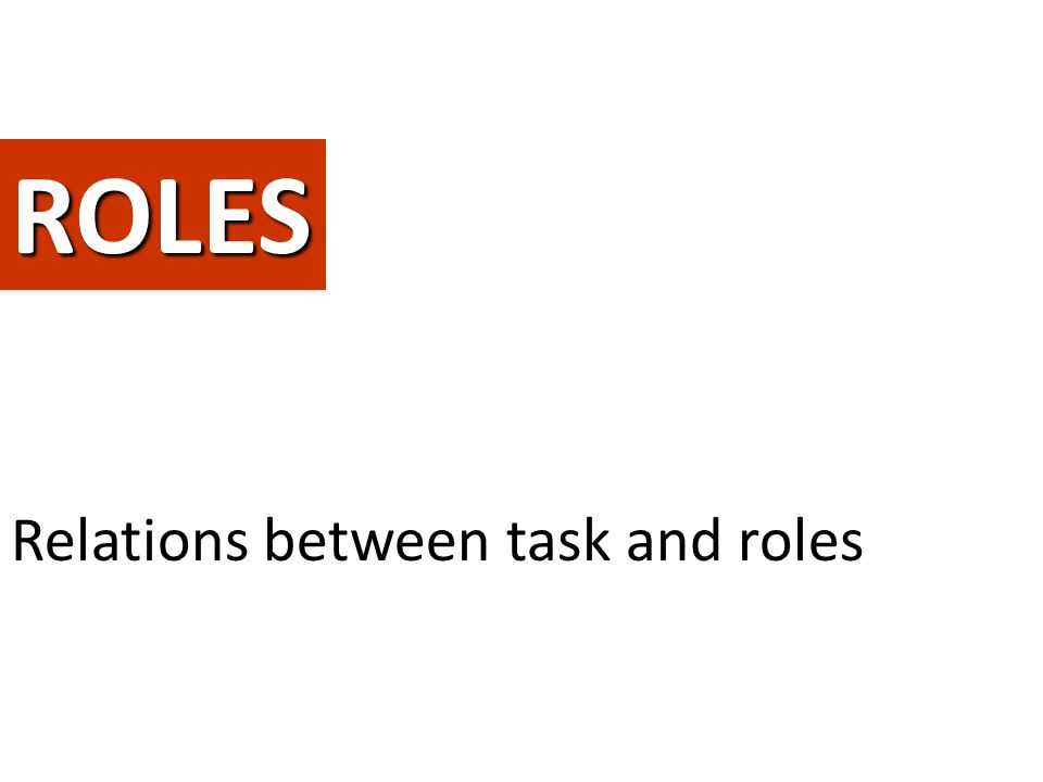 ROLES Give a complete form to the ideaRelations between task and roles