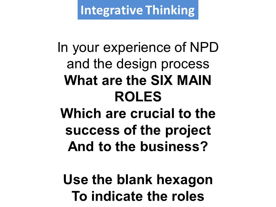 Integrative Thinking In your experience of NPD and the design process What are the SIX MAIN ROLES Which are crucial to the success of the project And to the business.