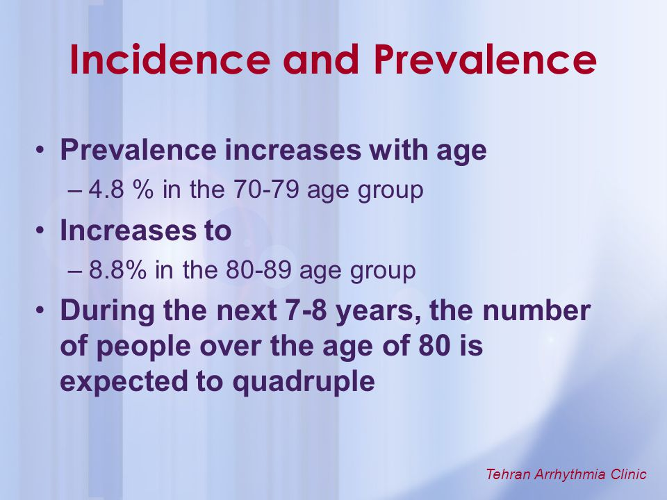 Tehran Arrhythmia Clinic Incidence and Prevalence Prevalence increases with age –4.8 % in the 70-79 age group Increases to –8.8% in the 80-89 age grou