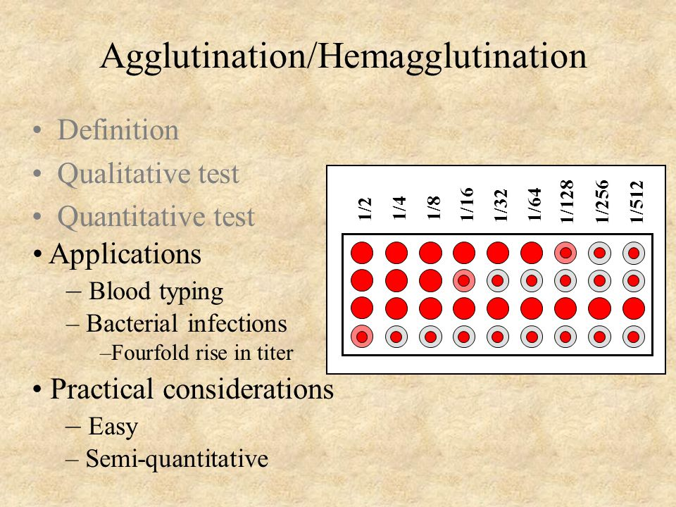 Agglutination/Hemagglutination Definition Qualitative test Quantitative test Applications – Blood typing – Bacterial infections –Fourfold rise in titer Practical considerations – Easy – Semi-quantitative 1/2 1/4 1/8 1/16 1/32 1/64 1/128 1/256 1/512