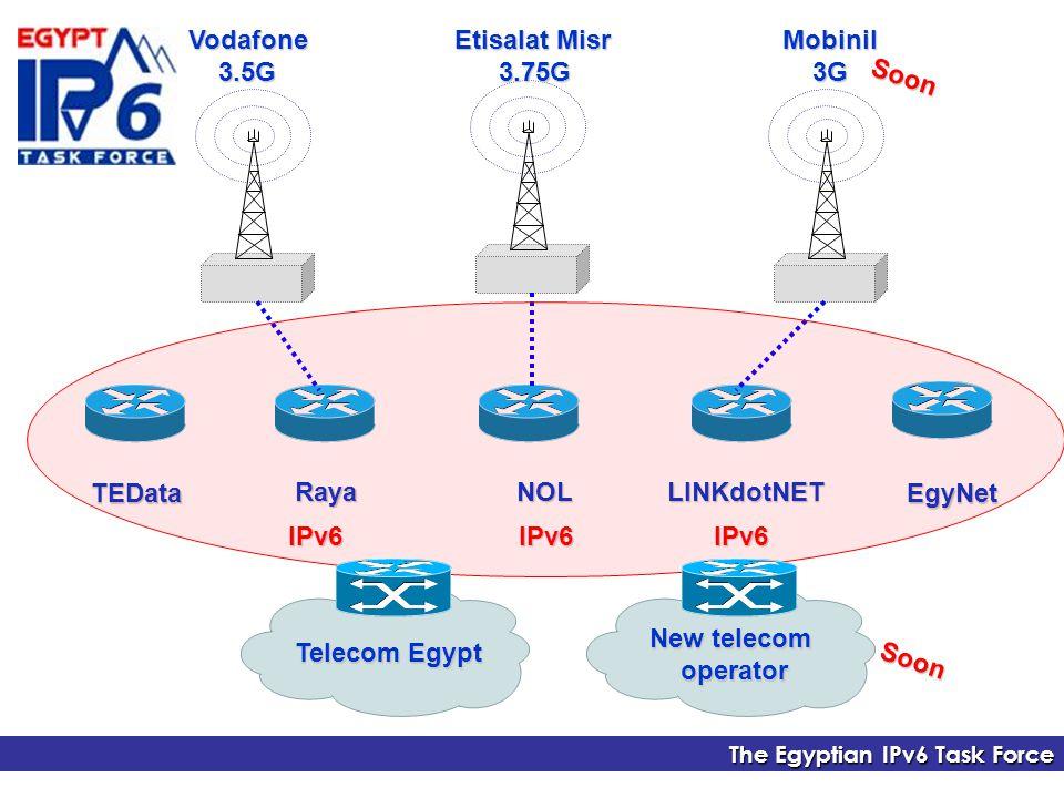 The Egyptian IPv6 Task Force TEDataEgyNet NOLRaya Mobinil 3G 3GVodafone 3.5G 3.5G Etisalat Misr 3.75G 3.75G LINKdotNET Soon IPv6IPv6IPv6 New telecom operator Telecom Egypt Soon