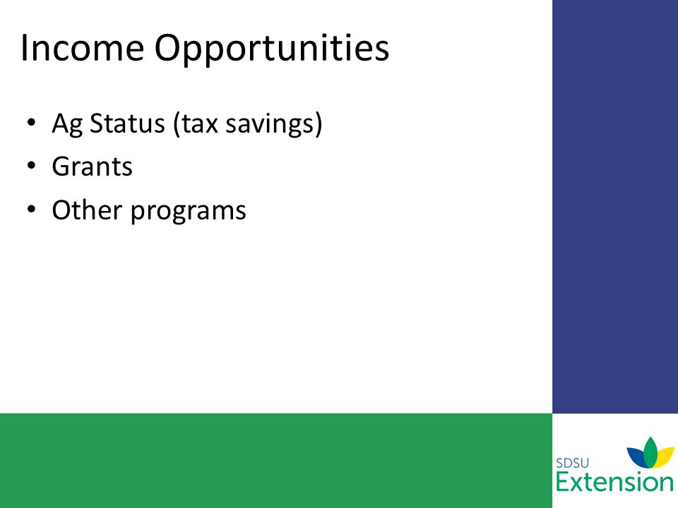 Income Opportunities Ag Status (tax savings) Grants Other programs