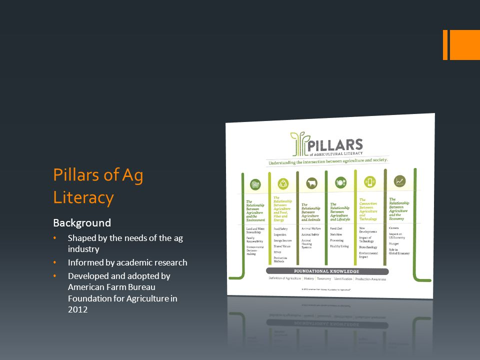 Pillars of Ag Literacy Background Shaped by the needs of the ag industry Informed by academic research Developed and adopted by American Farm Bureau F