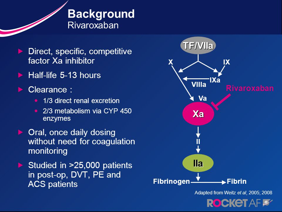 RivaroxabanWarfarin Primary Endpoint: Stroke or non-CNS Systemic Embolism INR target - 2.5 (2.0-3.0 inclusive) 20 mg daily 15 mg for Cr Cl 30-49 ml/min Atrial Fibrillation Randomize Double Blind / Double Dummy (n ~ 14,000) Monthly Monitoring Adherence to standard of care guidelines Study Design * Enrollment of patients without prior Stroke, TIA or systemic embolism and only 2 factors capped at 10% Risk Factors CHF Hypertension Age  75 Diabetes OR Stroke, TIA or Systemic embolus At least 2 or 3 required*