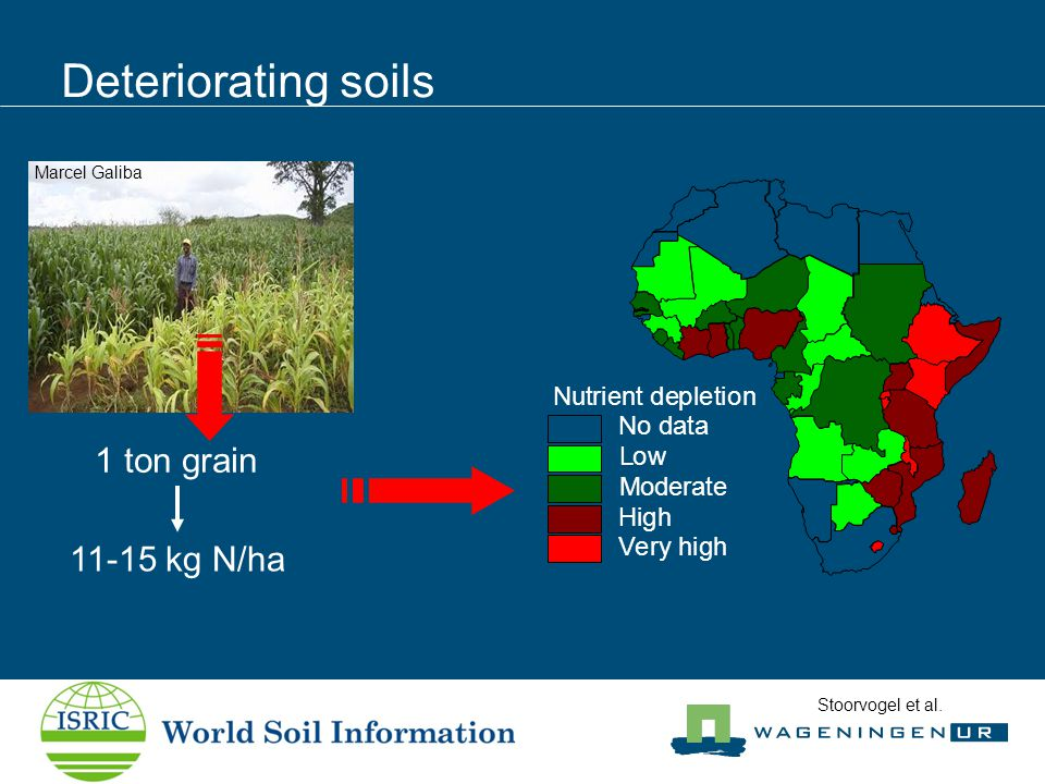 Deteriorating soils Marcel Galiba 11-15 kg N/ha Nutrient depletion No data Low Moderate High Very high 1 ton grain Stoorvogel et al.