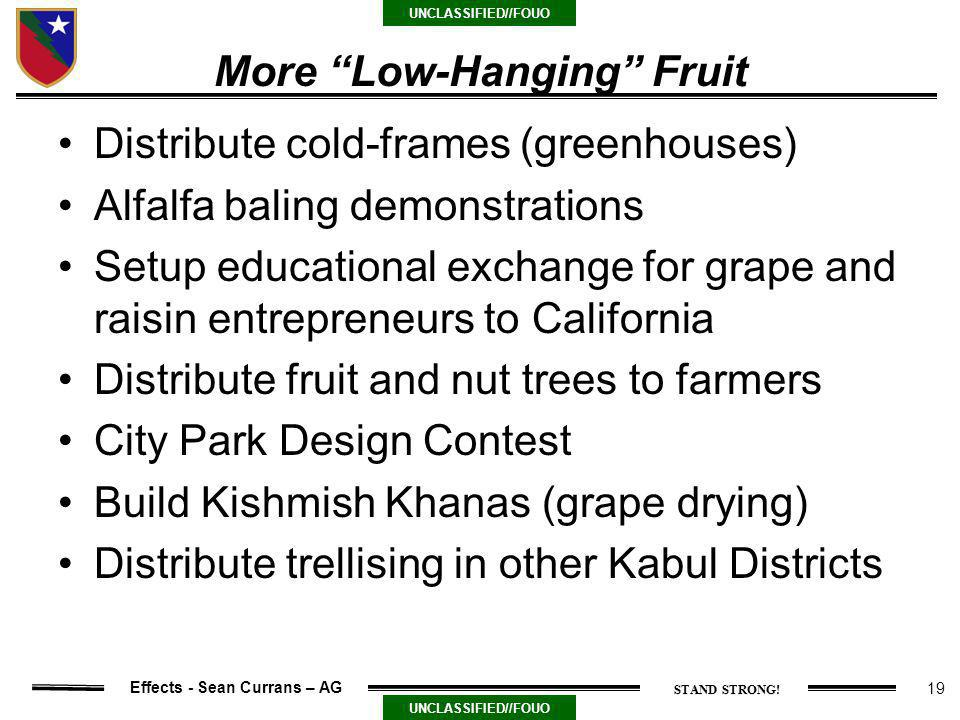 19 UNCLASSIFIED//FOUO Effects - Sean Currans – AG More Low-Hanging Fruit Distribute cold-frames (greenhouses) Alfalfa baling demonstrations Setup educational exchange for grape and raisin entrepreneurs to California Distribute fruit and nut trees to farmers City Park Design Contest Build Kishmish Khanas (grape drying) Distribute trellising in other Kabul Districts
