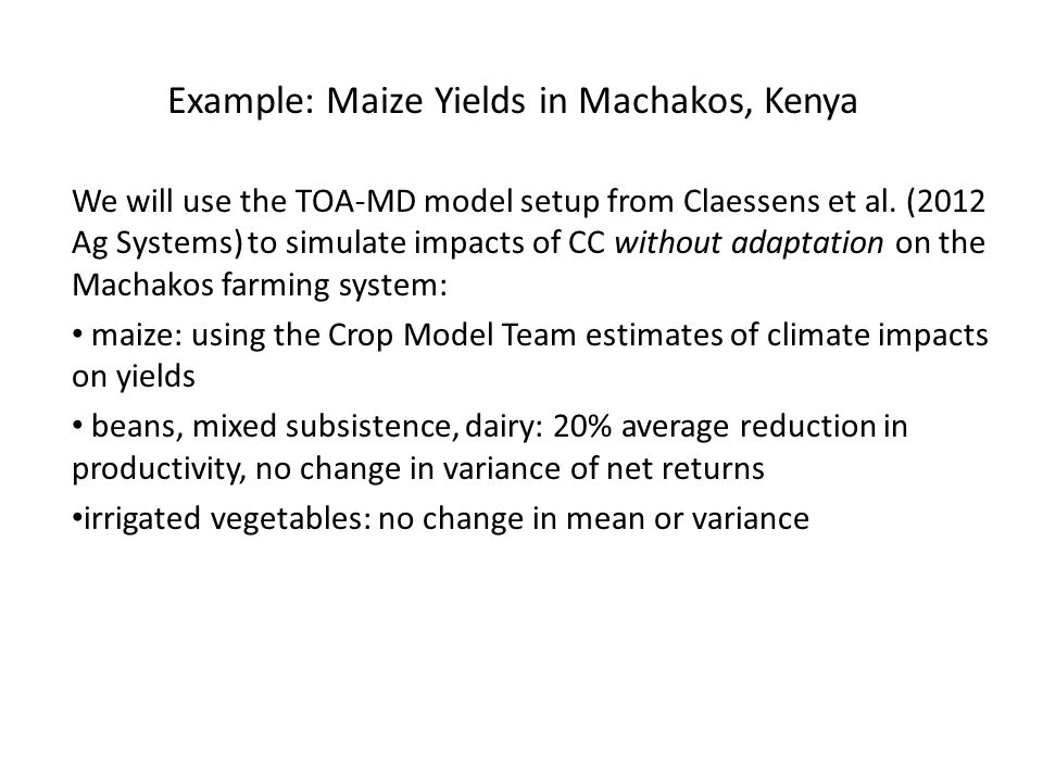 We will use the TOA-MD model setup from Claessens et al.