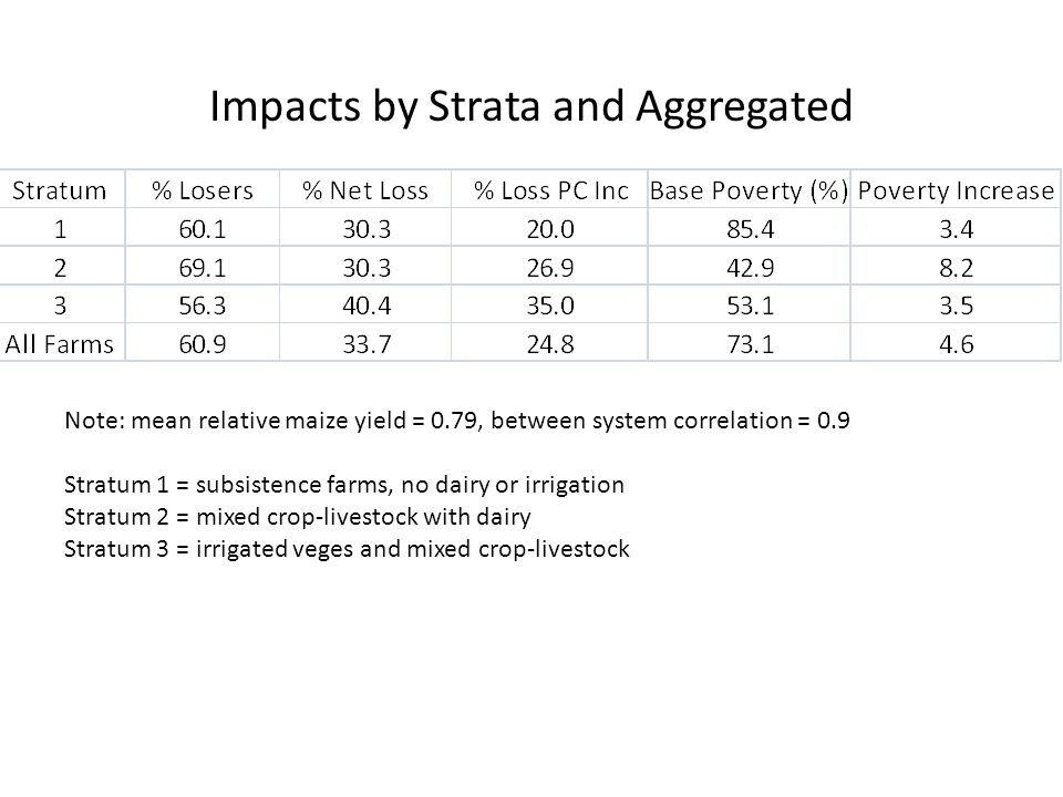 Impacts by Strata and Aggregated Note: mean relative maize yield = 0.79, between system correlation = 0.9 Stratum 1 = subsistence farms, no dairy or irrigation Stratum 2 = mixed crop-livestock with dairy Stratum 3 = irrigated veges and mixed crop-livestock