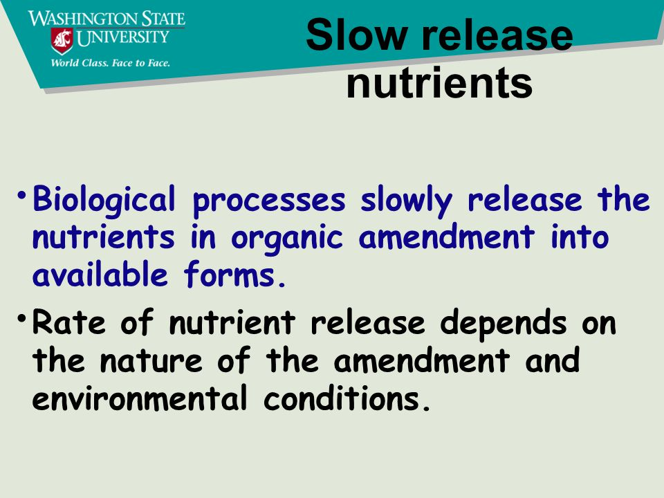 Slow release nutrients Biological processes slowly release the nutrients in organic amendment into available forms. Rate of nutrient release depends o