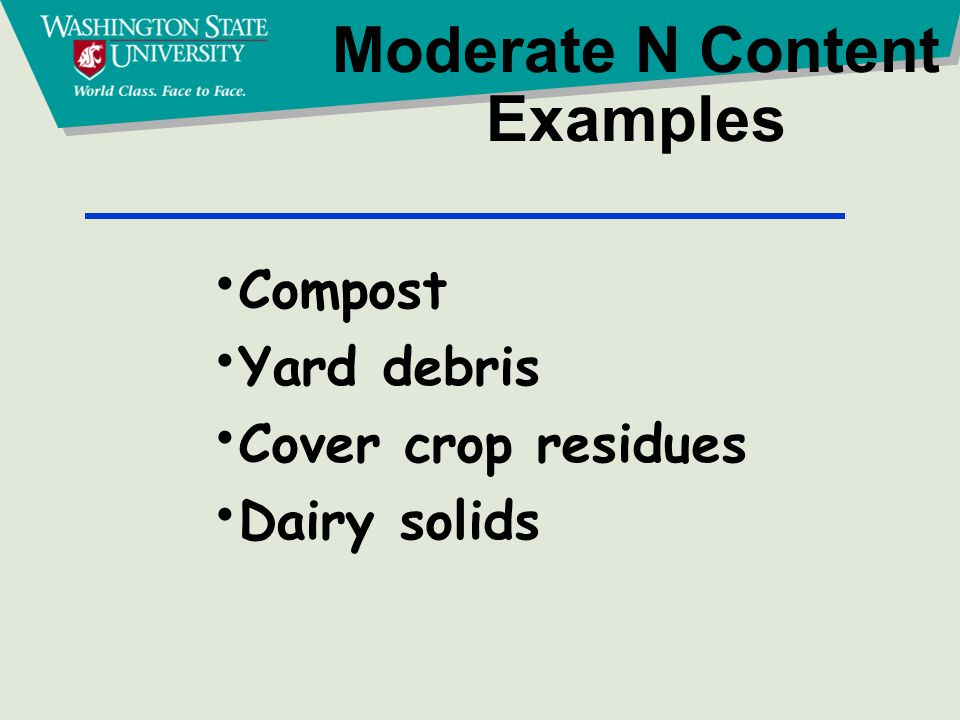 Moderate N Content Examples Compost Yard debris Cover crop residues Dairy solids