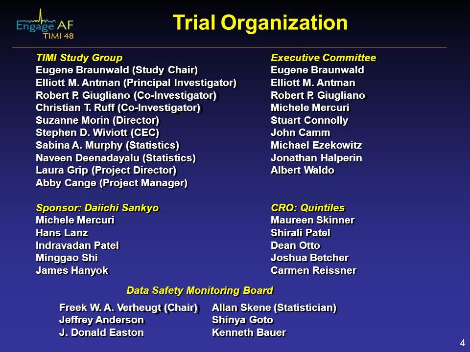 Trial Organization TIMI Study Group Eugene Braunwald (Study Chair) Elliott M. Antman (Principal Investigator) Robert P. Giugliano (Co-Investigator) Ch
