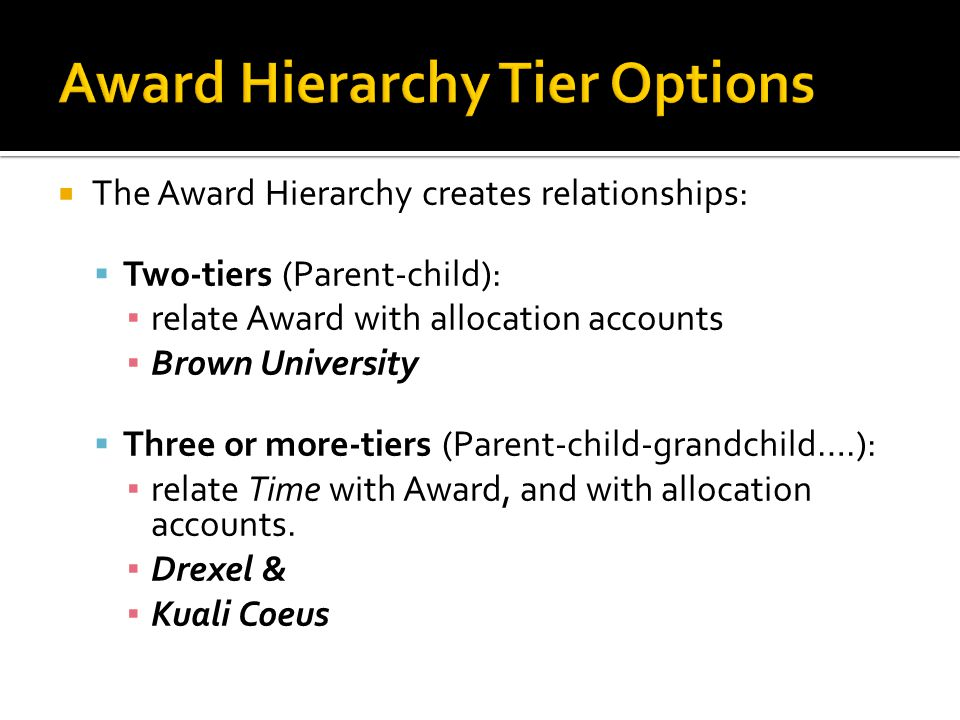  The Award Hierarchy creates relationships:  Two-tiers (Parent-child): ▪ relate Award with allocation accounts ▪ Brown University  Three or more-ti
