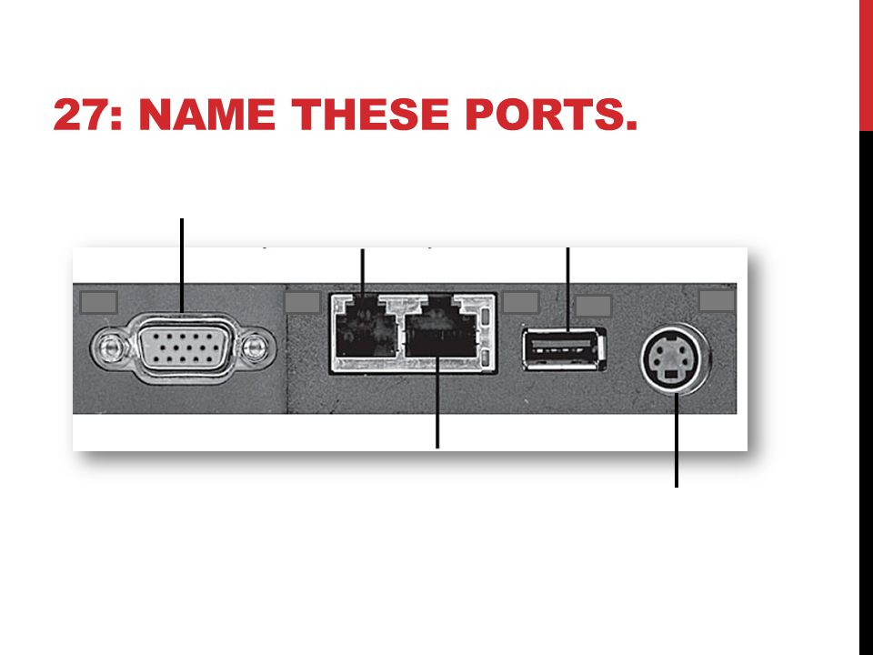 27: NAME THESE PORTS.