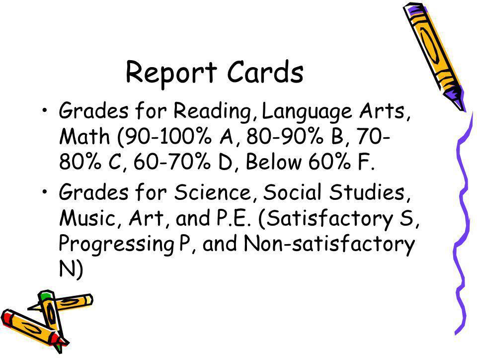 Report Cards Grades for Reading, Language Arts, Math (90-100% A, 80-90% B, 70- 80% C, 60-70% D, Below 60% F.