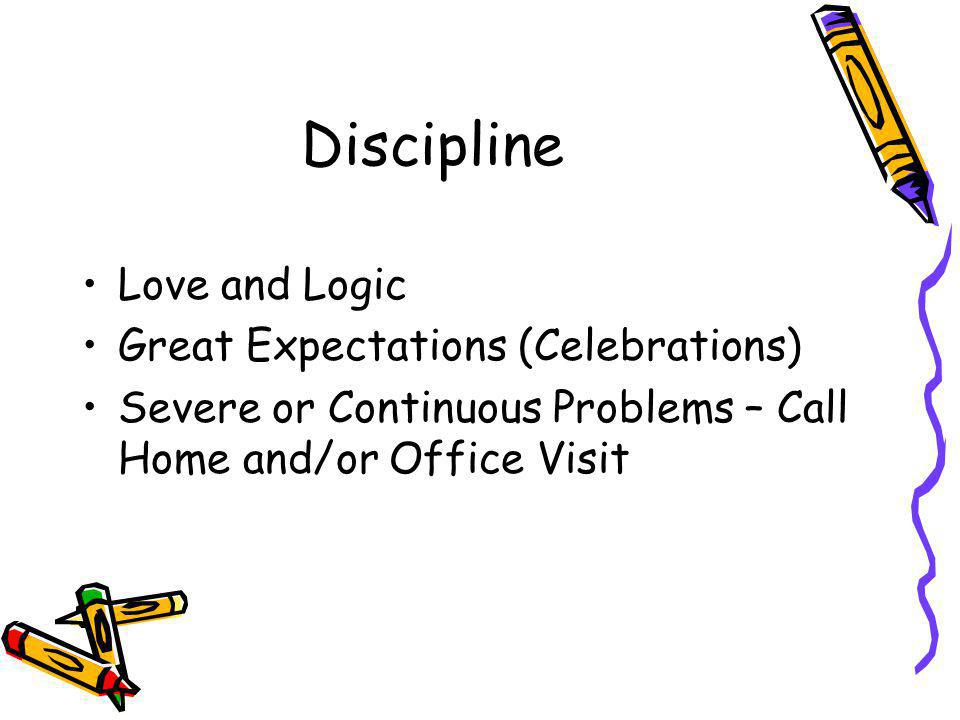 Discipline Love and Logic Great Expectations (Celebrations) Severe or Continuous Problems – Call Home and/or Office Visit